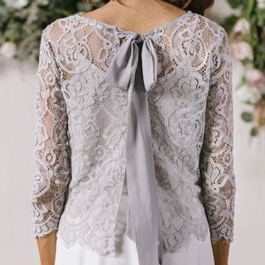 Mornin Lavender grey lace top size XS